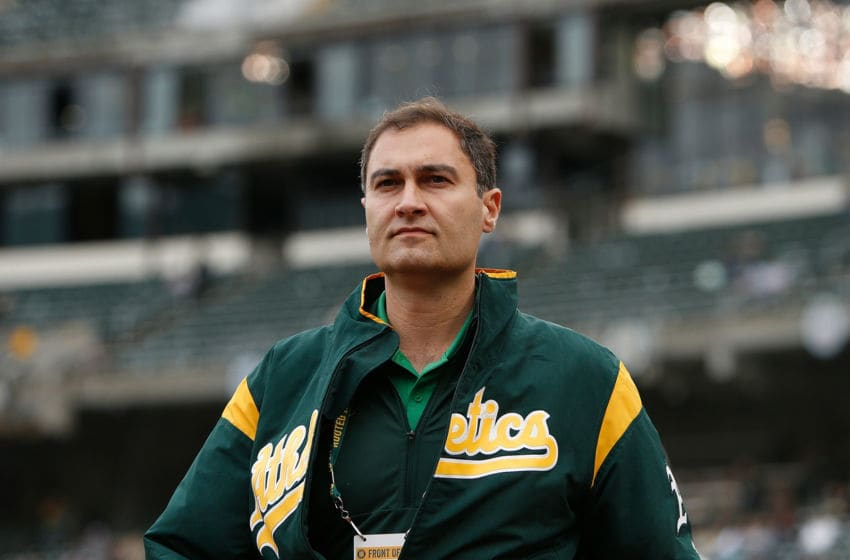 OAKLAND, CALIFORNIA - JUNE 15: Dave Kaval President of the Oakland Athletics walks on the field before the game against the Seattle Mariners at Ring Central Coliseum on June 15, 2019 in Oakland, California. (Photo by Lachlan Cunningham/Getty Images)