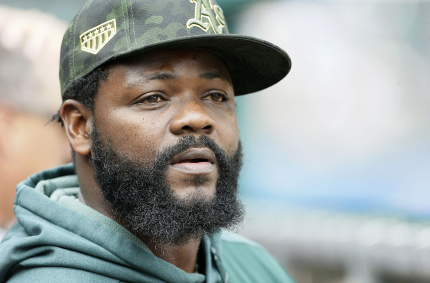 DETROIT, MI - MAY 19: Fernando Rodney #56 of the Oakland Athletics watches from the dugout during the third inning of a game against the Detroit Tigers at Comerica Park on May 19, 2019 in Detroit, Michigan. (Photo by Duane Burleson/Getty Images)