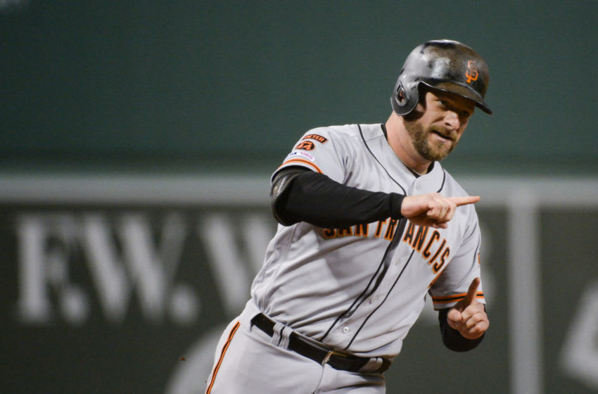 BOSTON, MA - SEPTEMBER 18: Stephen Vogt #21 of the San Francisco Giants reacts after hitting a home run against the Boston Red Sox in the first inning at Fenway Park on September 18, 2019 in Boston, Massachusetts. (Photo by Kathryn Riley/Getty Images)