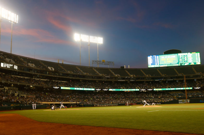 OAKLAND, CA - AUGUST 21: A view of the Oakland-Alameda County Coliseum during the game between the Oakland Athletics and the New York Yankees on August 21, 2019 in Oakland, California. The Athletics defeated the Yankees 6-4. (Photo by Michael Zagaris/Oakland Athletics/Getty Images)