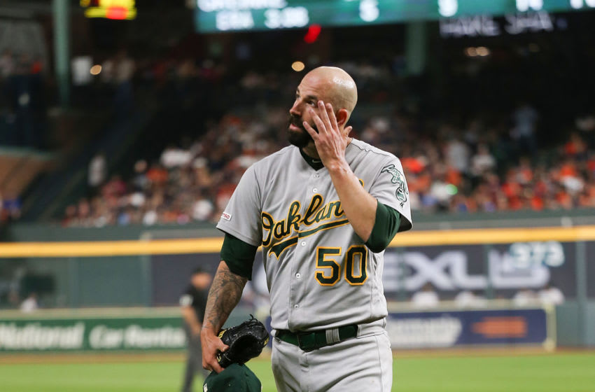 HOUSTON, TEXAS - SEPTEMBER 09: Mike Fiers #50 of the Oakland Athletics walks off the mound at the end of the first inning against the Houston Astros at Minute Maid Park on September 09, 2019 in Houston, Texas. (Photo by Bob Levey/Getty Images)