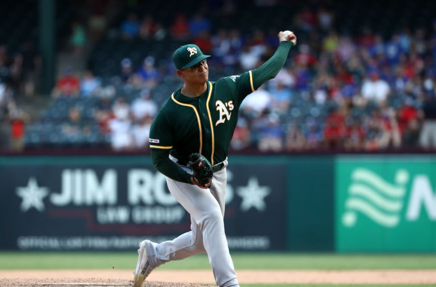 ARLINGTON, TEXAS - SEPTEMBER 15: Jesus Luzardo #44 of the Oakland Athletics at Globe Life Park in Arlington on September 15, 2019 in Arlington, Texas. (Photo by Ronald Martinez/Getty Images)