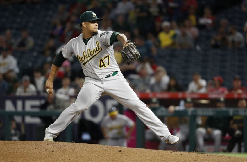 ANAHEIM, CALIFORNIA - SEPTEMBER 25: Frankie Montas #47 of the Oakland Athletics pitches during the first inning of a game against the Los Angeles Angels of Anaheim at Angel Stadium of Anaheim on September 25, 2019 in Anaheim, California. (Photo by Sean M. Haffey/Getty Images)