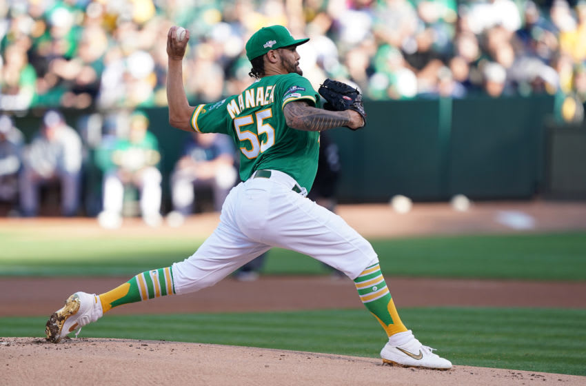 OAKLAND, CALIFORNIA - OCTOBER 02: Sean Manaea #55 of the Oakland Athletics throws a pitch against the Tampa Bay Rays in the first inning of the American League Wild Card Game at RingCentral Coliseum on October 02, 2019 in Oakland, California. (Photo by Thearon W. Henderson/Getty Images)