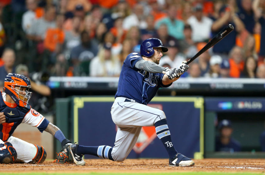 HOUSTON, TEXAS - OCTOBER 10: Eric Sogard #9 of the Tampa Bay Rays strikes out against the Houston Astros during the fourth inning in game five of the American League Division Series at Minute Maid Park on October 10, 2019 in Houston, Texas. (Photo by Bob Levey/Getty Images)