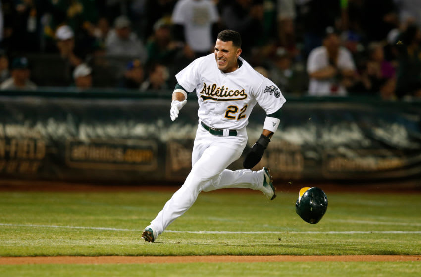 OAKLAND, CA - SEPTEMBER 16: Ramon Laureano #22 of the Oakland Athletics runs the bases during the game against the Kansas City Royals at the Oakland-Alameda County Coliseum on September 16, 2019 in Oakland, California. The Royals defeated the Athletics 6-5. (Photo by Michael Zagaris/Oakland Athletics/Getty Images)