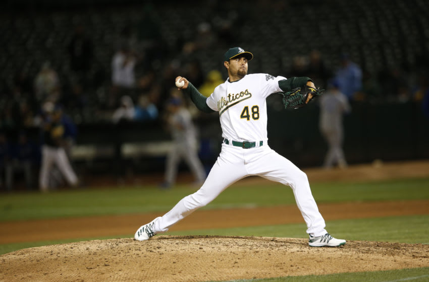 OAKLAND, CA - SEPTEMBER 16: Joakim Soria #48 of the Oakland Athletics pitches during the game against the Kansas City Royals at the Oakland-Alameda County Coliseum on September 16, 2019 in Oakland, California. The Royals defeated the Athletics 6-5. (Photo by Michael Zagaris/Oakland Athletics/Getty Images)