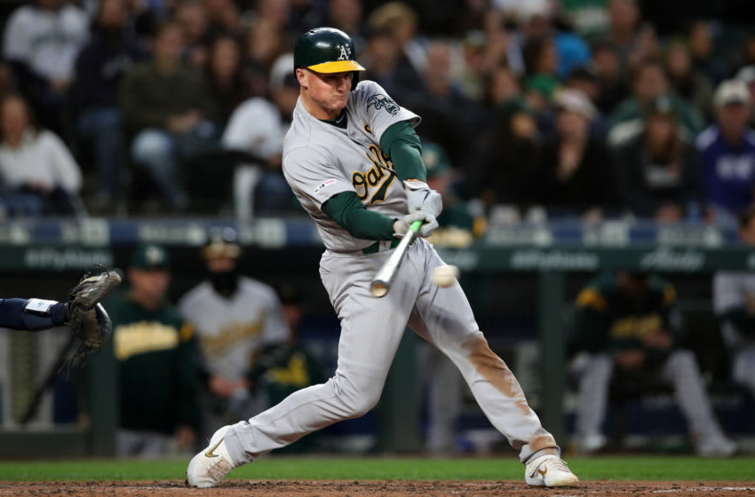 SEATTLE, WASHINGTON - SEPTEMBER 28: Chad Pinder #18 of the Oakland Athletics bats during the game against the Seattle Mariners at T-Mobile Park on September 28, 2019 in Seattle, Washington. The Athletics defeated the Mariners 1-0. (Photo by Rob Leiter/MLB Photos via Getty Images)
