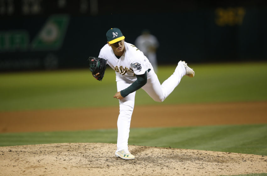 OAKLAND, CA - SEPTEMBER 21: Jesus Luzardo #44 of the Oakland Athletics pitches during the game against the Texas Rangers at the Oakland-Alameda County Coliseum on September 21, 2019 in Oakland, California. The Athletics defeated the Rangers 12-3. (Photo by Michael Zagaris/Oakland Athletics/Getty Images)
