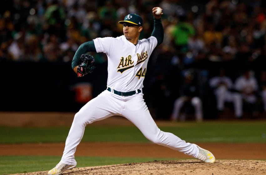 OAKLAND, CA - SEPTEMBER 21: Jesus Luzardo #44 of the Oakland Athletics pitches against the Texas Rangers during the seventh inning at the RingCentral Coliseum on September 21, 2019 in Oakland, California. The Oakland Athletics defeated the Texas Rangers 12-3. (Photo by Jason O. Watson/Getty Images)