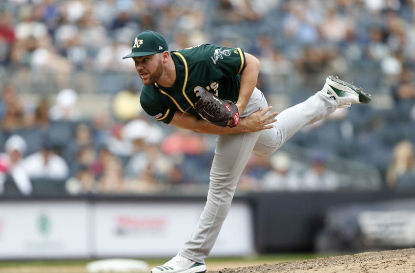 NEW YORK, NEW YORK - SEPTEMBER 01: Liam Hendriks #16 of the Oakland Athletics in action against the New York Yankees at Yankee Stadium on September 01, 2019 in New York City. The Yankees defeated the A's 5-4. (Photo by Jim McIsaac/Getty Images)