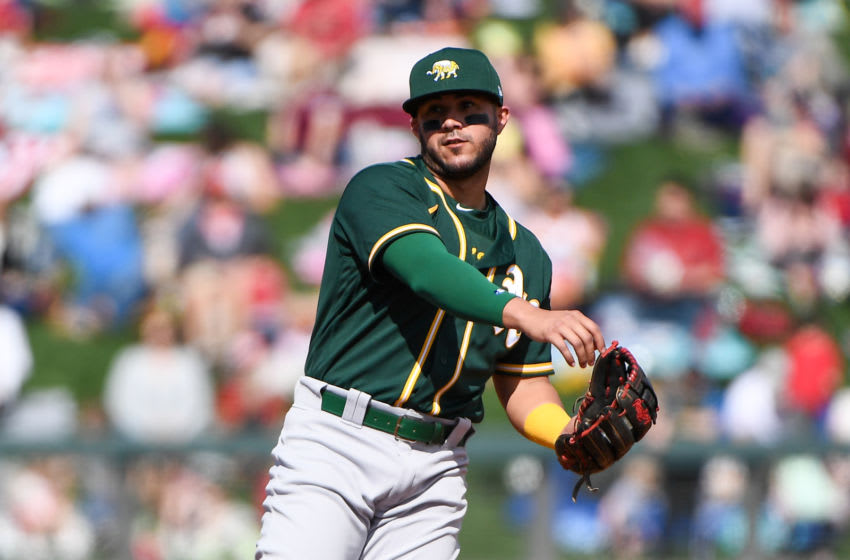 SCOTTSDALE, ARIZONA - FEBRUARY 23: Vimael Machin #39 of the Oakland Athletics in action during the spring training game against the Arizona Diamondbacks at Salt River Fields at Talking Stick on February 23, 2020 in Scottsdale, Arizona. (Photo by Jennifer Stewart/Getty Images)