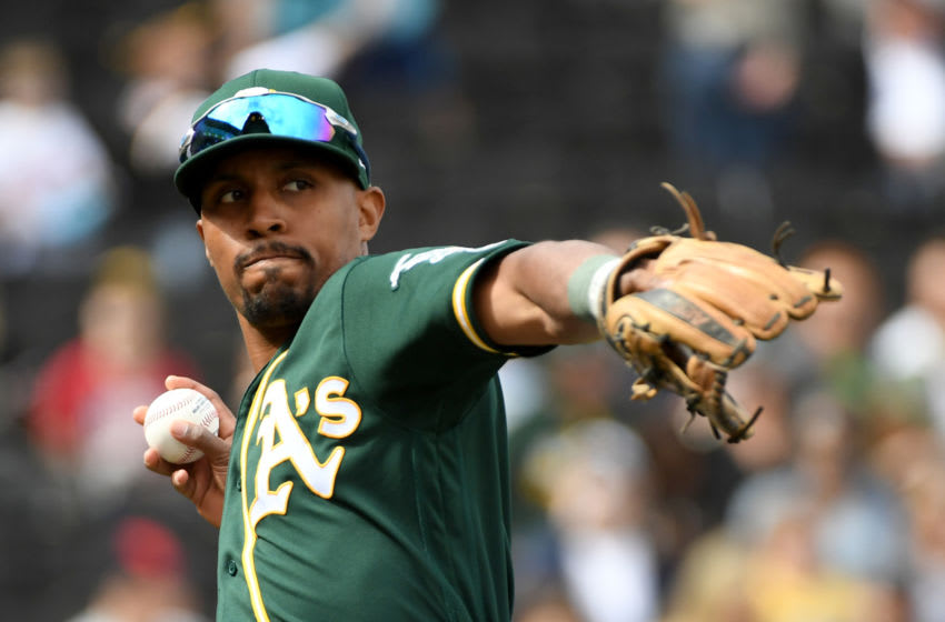 LAS VEGAS, NEVADA - FEBRUARY 29: Tony Kemp #5 of the Oakland Athletics warms up before an exhibition game against the Cleveland Indiansat Las Vegas Ballpark on February 29, 2020 in Las Vegas, Nevada. The Athletics defeated the Indians 8-6. (Photo by Ethan Miller/Getty Images)
