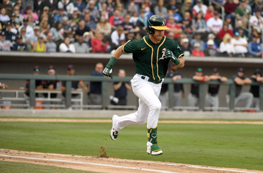 LAS VEGAS, NEVADA - FEBRUARY 29: Skye Bolt #49 0f the Oakland Athletics runs out a ground ball during an exhibition game against the Cleveland Indians at Las Vegas Ballpark on February 29, 2020 in Las Vegas, Nevada. The Athletics defeated the Indians 8-6. (Photo by Ethan Miller/Getty Images)
