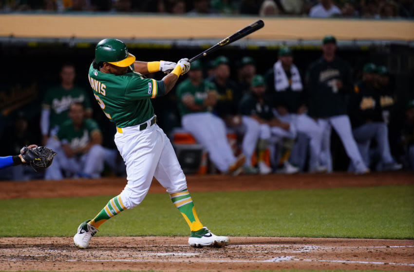 OAKLAND, CALIFORNIA - SEPTEMBER 20: Khris Davis #2 of the Oakland Athletics bats during the game against the Texas Rangers at Ring Central Coliseum on September 20, 2019 in Oakland, California. (Photo by Daniel Shirey/Getty Images)