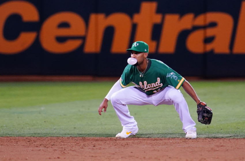 OAKLAND, CALIFORNIA - SEPTEMBER 20: Marcus Semien #10 of the Oakland Athletics prepares to field during the game against the Texas Rangers at Ring Central Coliseum on September 20, 2019 in Oakland, California. (Photo by Daniel Shirey/Getty Images)