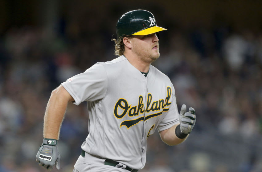 NEW YORK, NEW YORK - AUGUST 30: (NEW YORK DAILIES OUT) Sheldon Neuse #64 of the Oakland Athletics in action against the New York Yankees at Yankee Stadium on August 30, 2019 in New York City. The A's defeated the Yankees 8-2. (Photo by Jim McIsaac/Getty Images)