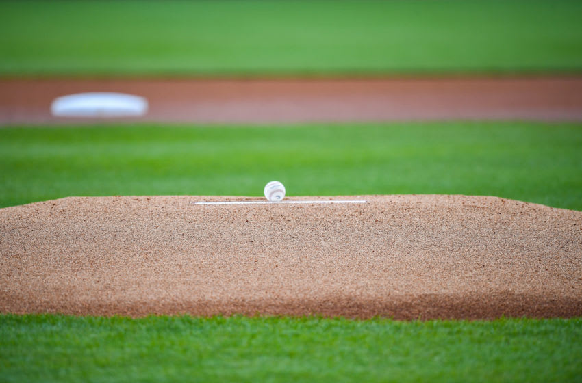 TAMPA, FLORIDA - FEBRUARY 26: A MLB baseball rests on the mound prior the spring training game between the New York Yankees and the Washington Nationals at Steinbrenner Field on February 26, 2020 in Tampa, Florida. (Photo by Mark Brown/Getty Images)
