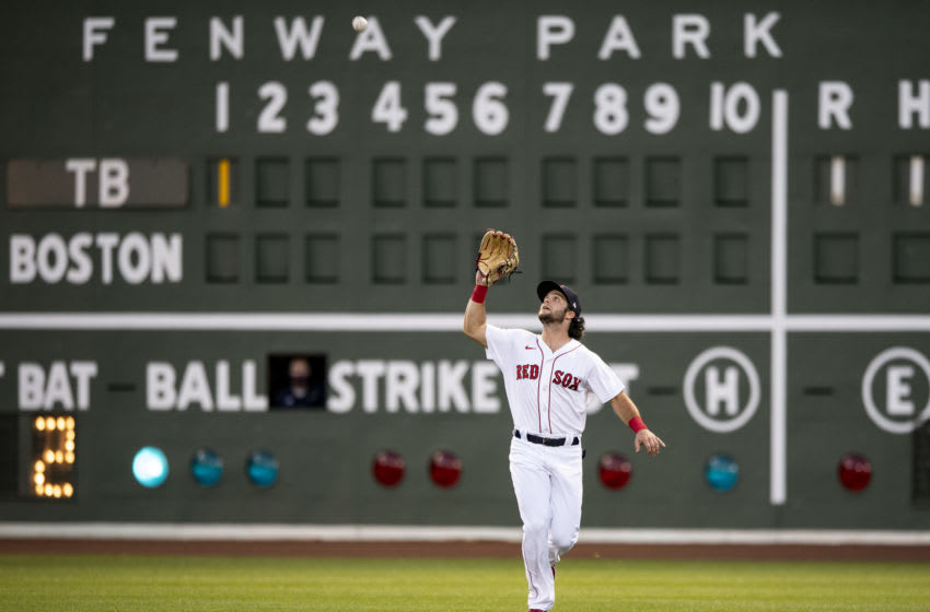 BOSTON, MA - AUGUST 11: Andrew Benintendi #16 of the Boston Red Sox catches a fly ball during the first inning of a game against the Tampa Bay Rays on August 11, 2020 at Fenway Park in Boston, Massachusetts. (Photo by Billie Weiss/Boston Red Sox/Getty Images)