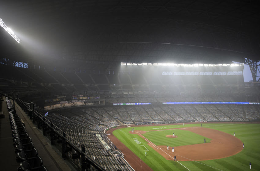 SEATTLE, WA - SEPTEMBER 14: Wildfire smoke fills the air during the second game of a doubleheader between the Seattle Mariners and Oakland Athletics at T-Mobile Park on September 14, 2020 in Seattle, Washington. The Oakland Athletics beat the Seattle Mariners 9-0. (Photo by Lindsey Wasson/Getty Images)