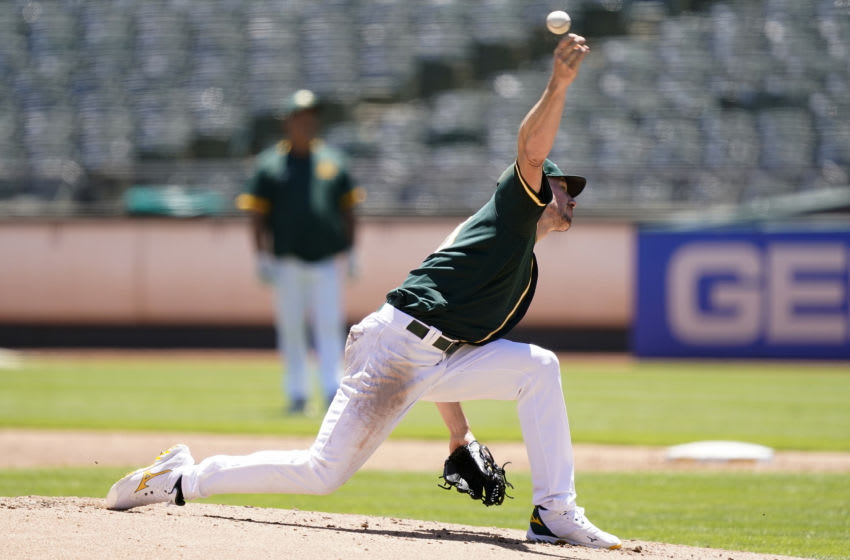 OAKLAND, CALIFORNIA - JULY 12: Chris Bassitt #40 of the Oakland Athletics pitches in an intersquad game during summer workouts at RingCentral Coliseum on July 12, 2020 in Oakland, California. (Photo by Thearon W. Henderson/Getty Images)