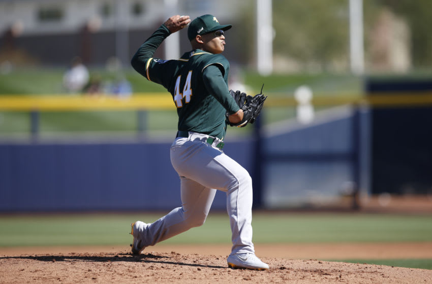 PEORIA, AZ - February 25: Jesus Luzardo #44 of the Oakland Athletics pitches during the game against the San Diego Padres at Peoria Stadium on February 25, 2020 in Peoria, Arizona. (Photo by Michael Zagaris/Oakland Athletics/Getty Images)