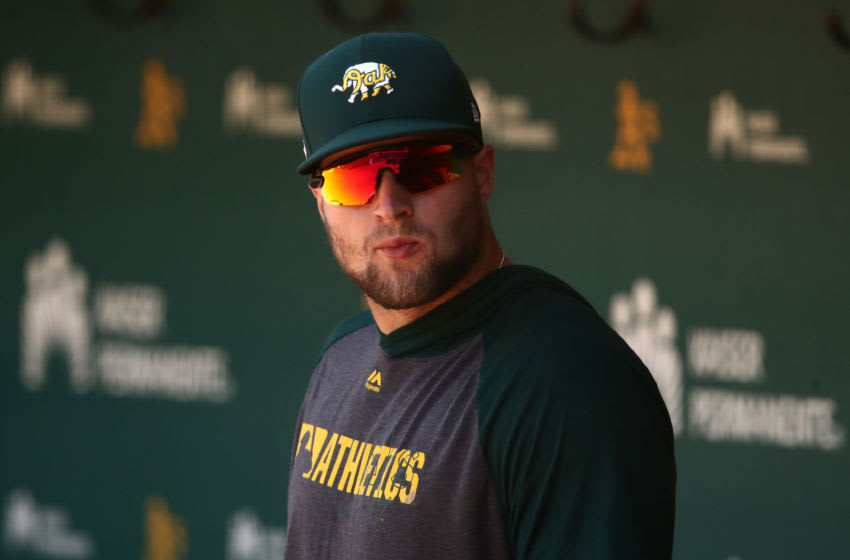 OAKLAND, CALIFORNIA - JULY 17: Seth Brown #15 of the Oakland Athletics stands in the dugout during summer workouts at RingCentral Coliseum on July 17, 2020 in Oakland, California. (Photo by Ezra Shaw/Getty Images)