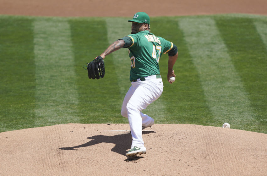 OAKLAND, CALIFORNIA - AUGUST 08: Frankie Montas #47 of the Oakland Athletics pitches against the Houston Astros in the top of the first inning at RingCentral Coliseum on August 08, 2020 in Oakland, California. (Photo by Thearon W. Henderson/Getty Images)