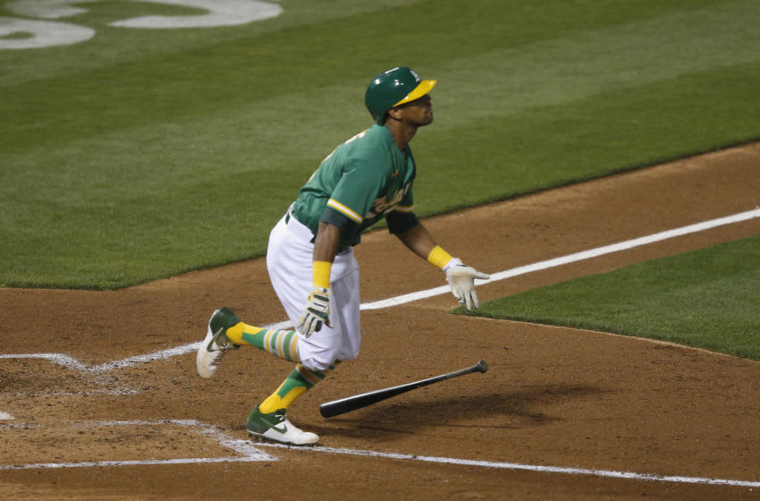 OAKLAND, CALIFORNIA - AUGUST 20: Khris Davis #2 of the Oakland Athletics at bat in the bottom of the sixth inning against the Arizona Diamondbacks at Oakland-Alameda County Coliseum on August 20, 2020 in Oakland, California. (Photo by Lachlan Cunningham/Getty Images)