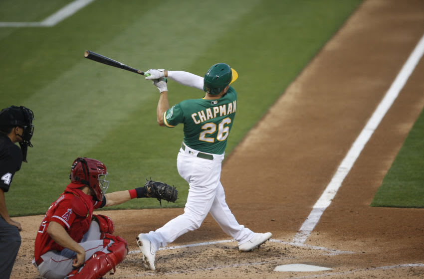 OAKLAND, CA - AUGUST 21: Matt Chapman #26 of the Oakland Athletics bats during the game against the Los Angeles Angels at RingCentral Coliseum on August 21, 2020 in Oakland, California. The Athletics defeated the Angels 5-3. (Photo by Michael Zagaris/Oakland Athletics/Getty Images)