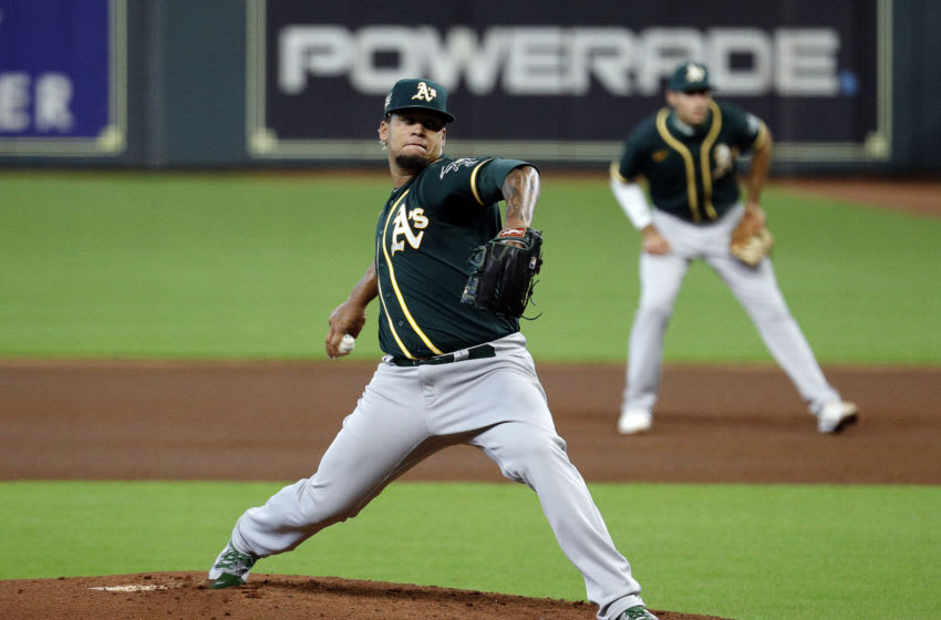 HOUSTON, TEXAS - AUGUST 29: Frankie Montas #47 of the Oakland Athletics pitches against the Houston Astros during game two of a doubleheader at Minute Maid Park on August 29, 2020 in Houston, Texas. (Photo by Bob Levey/Getty Images)