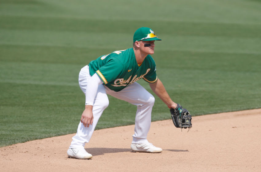 OAKLAND, CA - AUGUST 22: Matt Chapman #26 of the Oakland Athletics fields during the game against the Los Angeles Angels at RingCentral Coliseum on August 22, 2020 in Oakland, California. The Angels defeated the Athletics 4-3. (Photo by Michael Zagaris/Oakland Athletics/Getty Images)