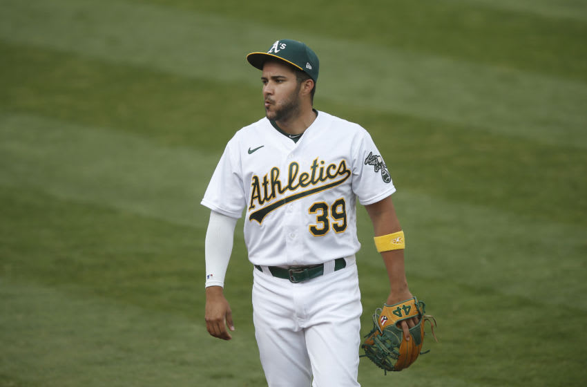 OAKLAND, CALIFORNIA - SEPTEMBER 07: Vimael Machin #39 of the Oakland Athletics looks on before the game against the Houston Astros at Oakland-Alameda County Coliseum on September 07, 2020 in Oakland, California. (Photo by Lachlan Cunningham/Getty Images)