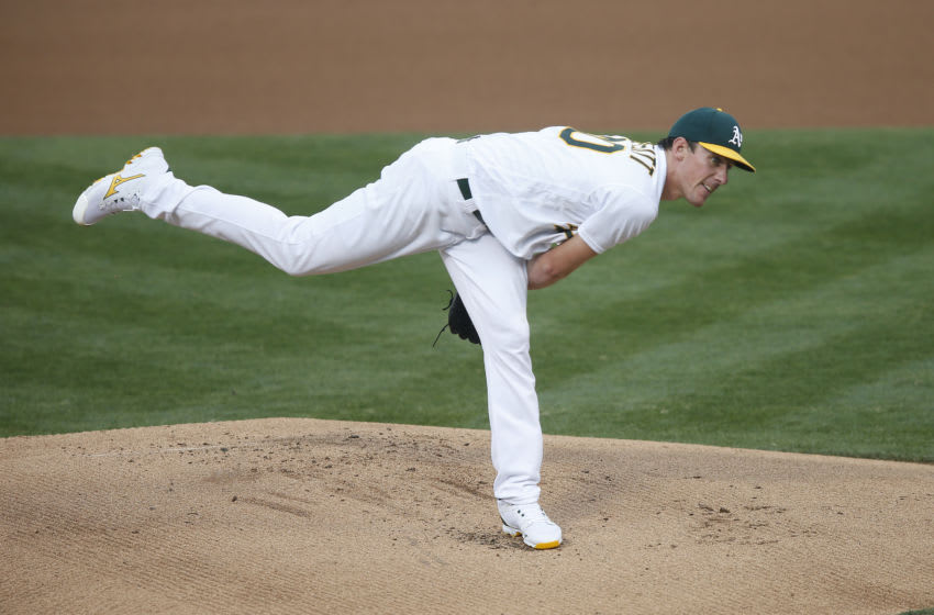 OAKLAND, CALIFORNIA - SEPTEMBER 07: Chris Bassitt #40 of the Oakland Athletics pitches in the top of the first inning against the Houston Astros at Oakland-Alameda County Coliseum on September 07, 2020 in Oakland, California. (Photo by Lachlan Cunningham/Getty Images)