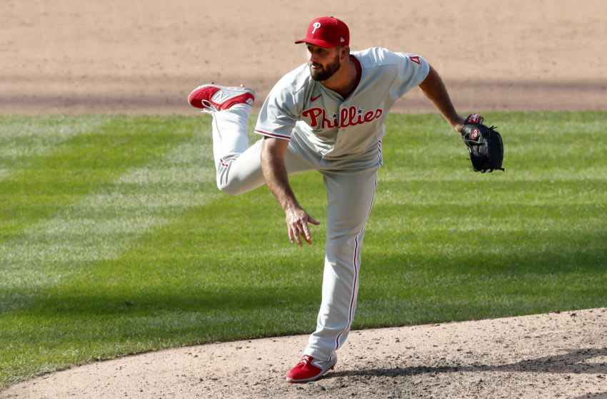NEW YORK, NEW YORK - SEPTEMBER 07: Brandon Workman #44 of the Philadelphia Phillies in action against the New York Mets at Citi Field on September 07, 2020 in New York City. The Phillies defeated the Mets 9-8 in ten innings. (Photo by Jim McIsaac/Getty Images)