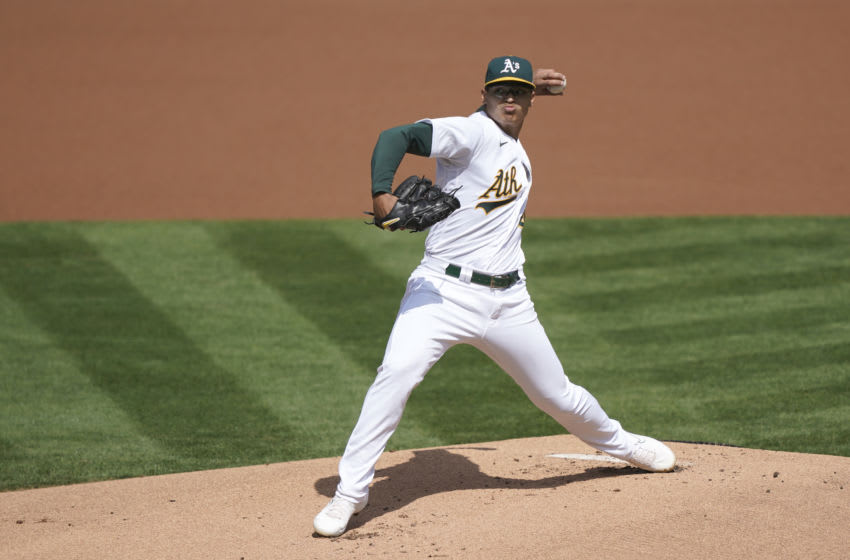 OAKLAND, CALIFORNIA - SEPTEMBER 19: Jesus Luzardo #44 of the Oakland Athletics pitches against the in the top of the first inning at RingCentral Coliseum on September 19, 2020 in Oakland, California. (Photo by Thearon W. Henderson/Getty Images)