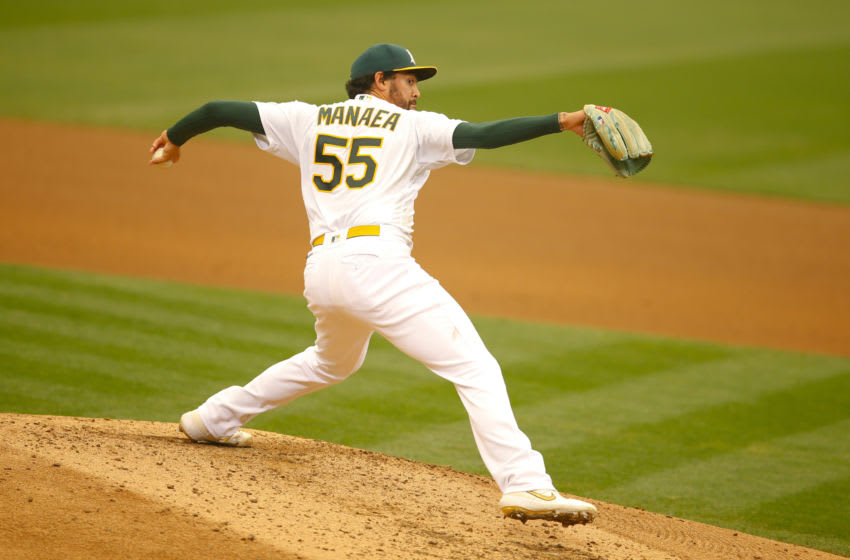 OAKLAND, CA - SEPTEMBER 10: Sean Manaea #55 of the Oakland Athletics pitches during the game against the Houston Astros at RingCentral Coliseum on September 10, 2020 in Oakland, California. The Athletics defeated the Astros 3-1. (Photo by Michael Zagaris/Oakland Athletics/Getty Images)
