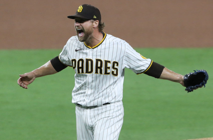 SAN DIEGO, CALIFORNIA - OCTOBER 02: Trevor Rosenthal #47 of the San Diego Padres celebrates a series win against the St. Louis Cardinals following Game Three of the National League Wild Card Series at PETCO Park on October 02, 2020 in San Diego, California. (Photo by Sean M. Haffey/Getty Images)