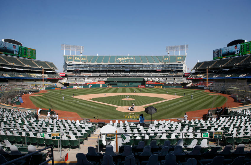 OAKLAND, CA - SEPTEMBER 29: A view of RingCentral Coliseum during Game One of the Wild Card Round between the Oakland Athletics the Chicago White Sox on September 29, 2020 in Oakland, California. The White Sox defeated the Athletics 4-1. (Photo by Michael Zagaris/Oakland Athletics/Getty Images)