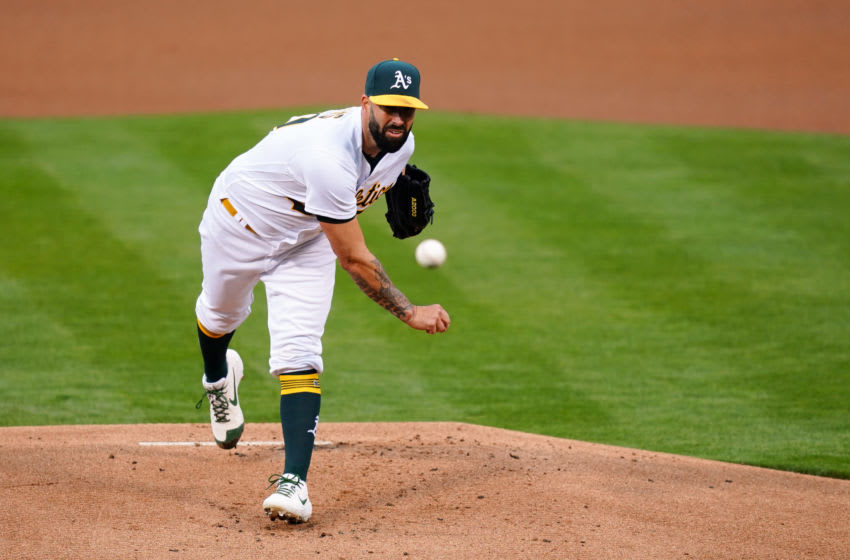 OAKLAND, CALIFORNIA - APRIL 30: Mike Fiers #50 of the Oakland Athletics pitches during the first inning against the Baltimore Orioles at RingCentral Coliseum on April 30, 2021 in Oakland, California. (Photo by Daniel Shirey/Getty Images)
