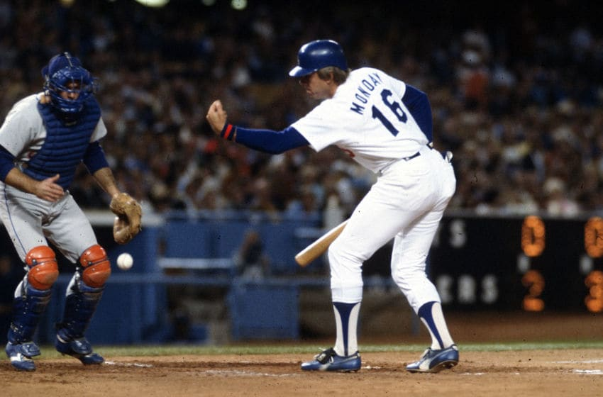 LOS ANGELES, CA - CIRCA 1978: Outfielder Rick Monday #16 of the Los Angeles Dodgers bats against the New York Mets during an Major League Baseball game circa 1978 at Dodgers Stadium in Los Angeles, California. Monday played for the Dodgers from 1977-84. (Photo by Focus on Sport/Getty Images)