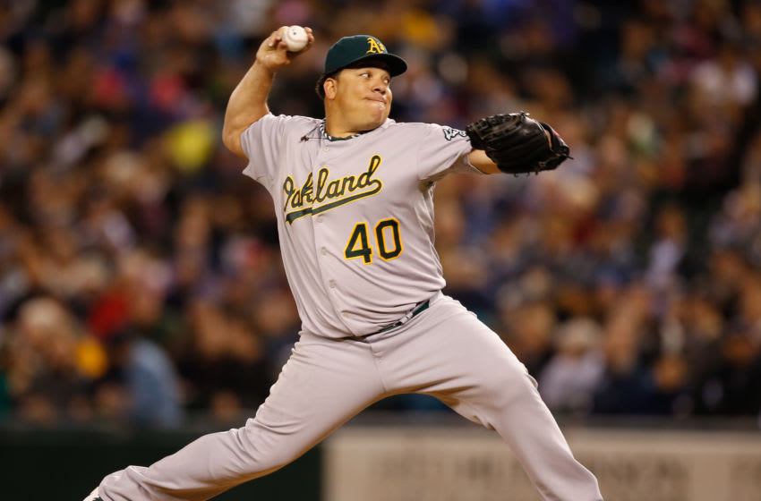 SEATTLE, WA - SEPTEMBER 27: Starting pitcher Bartolo Colon #40 of the Oakland Athletics pitches against the Seattle Mariners at Safeco Field on September 27, 2013 in Seattle, Washington. (Photo by Otto Greule Jr/Getty Images)