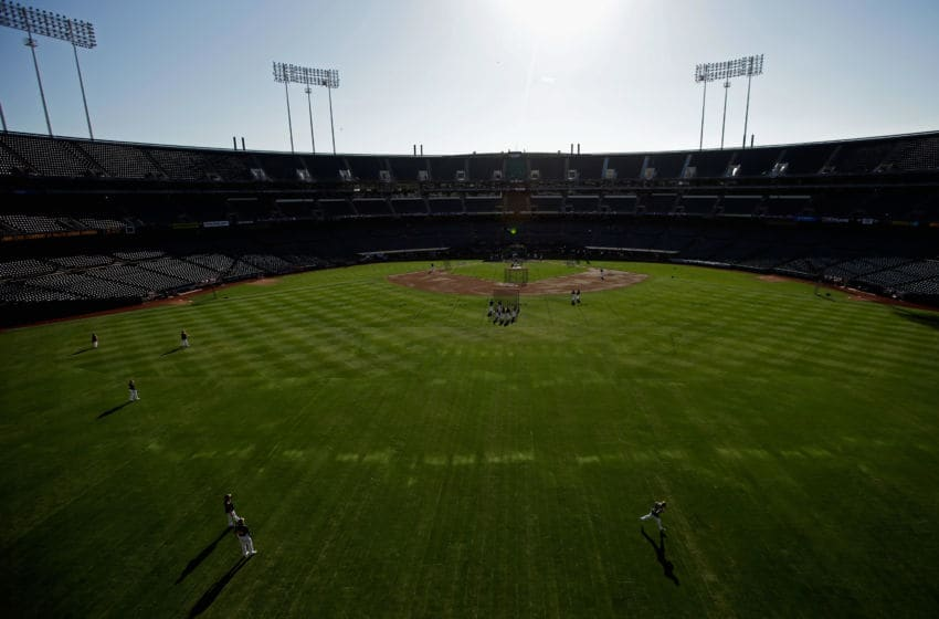 OAKLAND, CA - OCTOBER 04: A general view of the field during Batting Practice prior to Game One of the American League Division Series between the Detroit Tigers and the Oakland Athletics at O.co Coliseum on October 4, 2013 in Oakland, California. (Photo by Ezra Shaw/Getty Images)