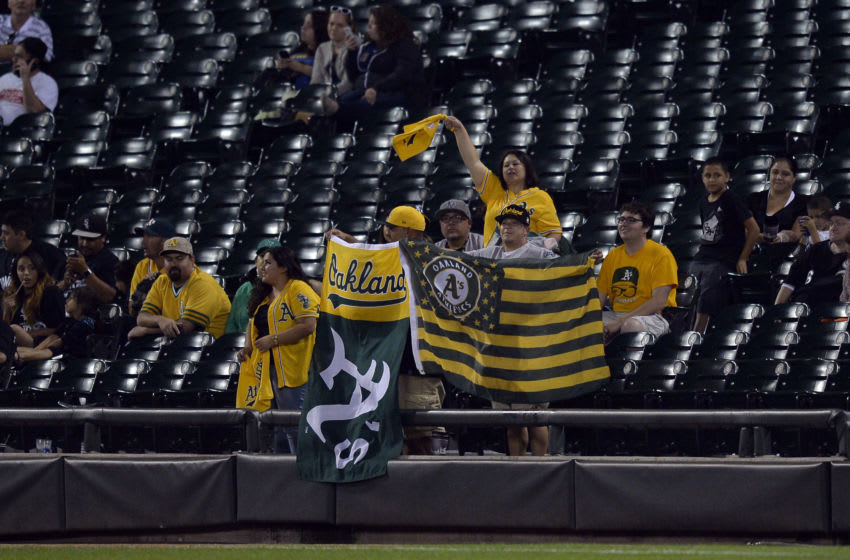 CHICAGO, IL - SEPTEMBER 8: Oakland Athletics fans cheer during the twelfth inning against the Chicago White Sox at U.S. Cellular Field on September 8, 2014 in Chicago, Illinois. The White Sox defeated the Athletics 5-4 in 12 innings. (Photo by Brian D. Kersey/Getty Images)