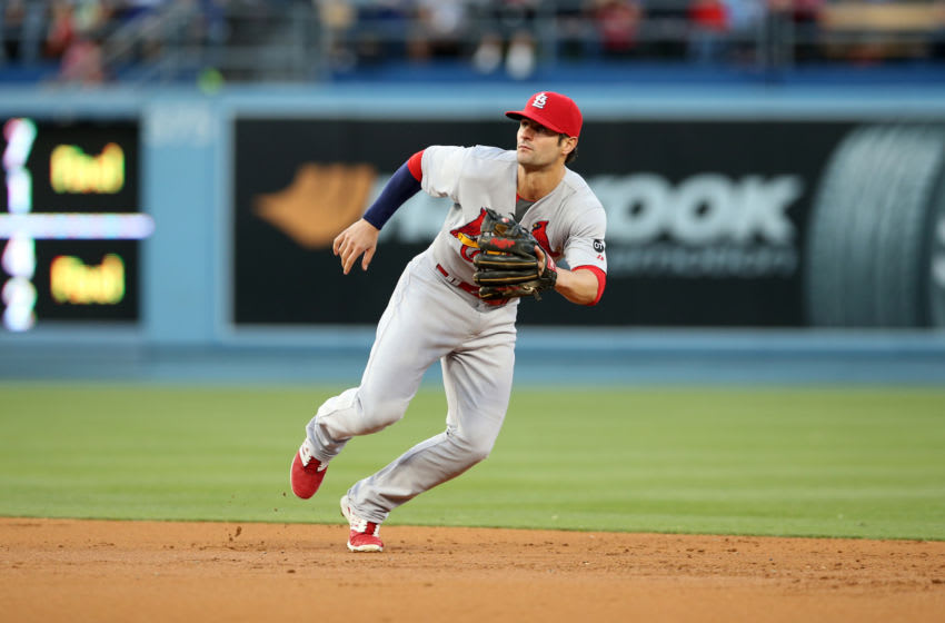 LOS ANGELES, CA - JUNE 06: Pete Kozma #38 of the St. Louis Cardinals plays second base during the game against the Los Angeles Dodgers at Dodger Stadium on June 6, 2015 in Los Angeles, California. The Dodgers defeated the Cardinals 2-0. (Photo by Rob Leiter/MLB Photos via Getty Images)