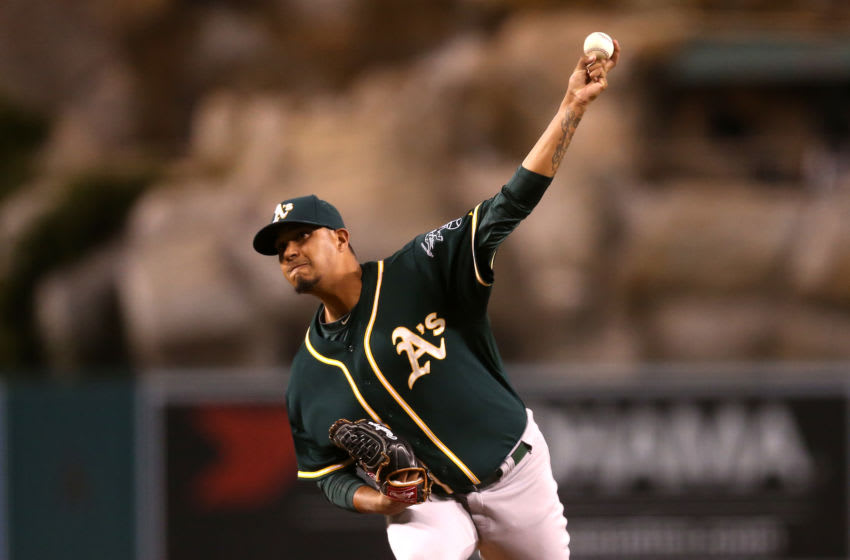 ANAHEIM, CA - SEPTEMBER 28: Felix Doubront #53 of the Oakland Athletics throws a pitch against the Los Angeles Angels of Anaheim at Angel Stadium of Anaheim on September 28, 2015 in Anaheim, California. (Photo by Stephen Dunn/Getty Images)