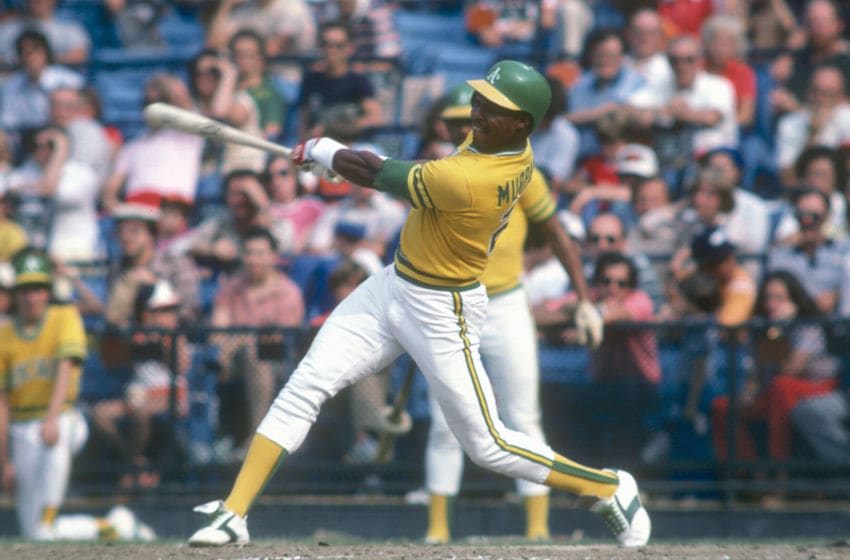 BALTIMORE, MD - CIRCA 1981: Dwayne Murphy #21 of the Oakland Athletics bats against the Baltimore Orioles during an Major League Baseball game circa 1981 at Memorial Stadium in Baltimore, Maryland. Murphy played for the Athletics in 1978-87. (Photo by Focus on Sport/Getty Images)