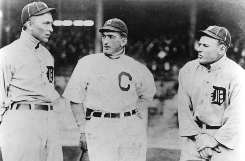CLEVELAND - 1913. Detroit Tiger stars Ty Cobb, left, and Sam Crawford, right, talk with Joe Jackson of the Cleveland Indians before a game at League Park in Cleveland in 1913. (Photo by Mark Rucker/Transcendental Graphics, Getty Images)