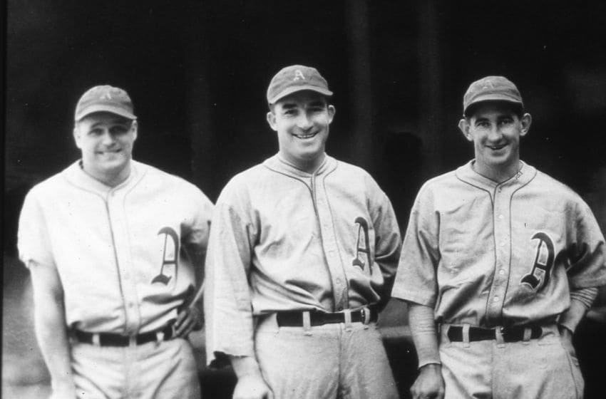 PHILADELPHIA - 1933. Three Philadelphia Athletics sluggers pose together in 1933. They are (L-R) Jimmy Foxx, Al SImmons, and Mickey Cochrane. (Photo by Mark Rucker/Transcendental Graphics, Getty Images)