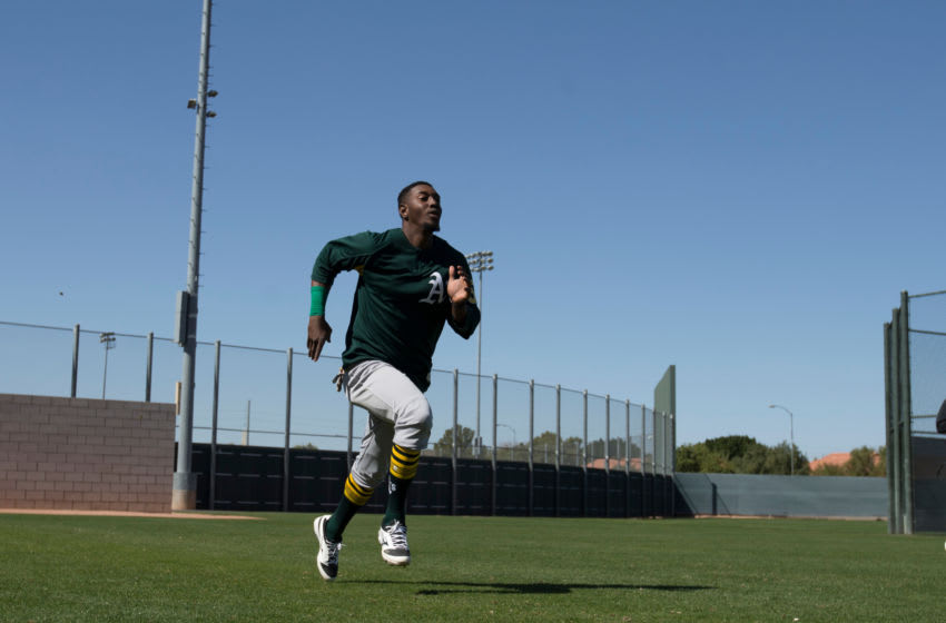 MESA, AZ - FEBRUARY 20: Jorge Mateo #57 of the Oakland Athletics goes through running drills during a spring training workout at Fitch Park on February 20, 2018 in Mesa, Arizona. (Photo by Michael Zagaris/Oakland Athletics/Getty Images) *** Local Caption *** Jorge Mateo